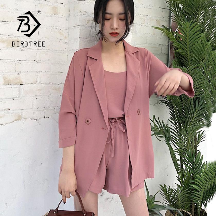 2018 New Women's 3 Pcs suit Sets Solid Camis + Half Sleeve Blazer + High Elastic Waist Wide Leg Shorts Elegant Suit Hot S86105FD