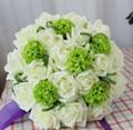 2017 Дешевый Новый Свадебный Букет невесты Невесты Цветок Красочные Белый и Зеленый Искусственный Цветок Розы Невеста Букет buque де noiva