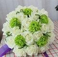 2017 Barato Nuevo Ramo de La Boda de dama de Honor Nupcial de La Flor de Colores Blanco y Verde Flor Rosa Artificial Novia Ramo buque de noiva