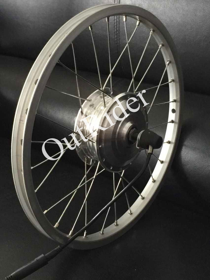 Outrider wysokiej jakości 36V przedni bezszczotkowy silnik 80mm do roweru składanego Brompton/Dahon z certyfikatem CE/EN15194