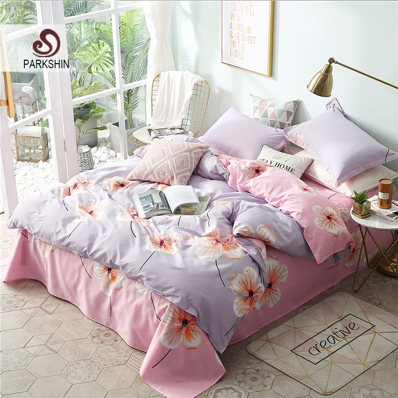 ParkShin Art Watercolor Flowers Purple Bedding Set Comforter Duvet Cover Active Printing Set Bed Linen Bedclothes Multi Sizes