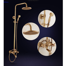 Dofaso all copper luxury rainfall Bath & Shower Faucets Set, Dual Handles Antique Rainfall Shower Set antique brass shower taps luxury antique wooded