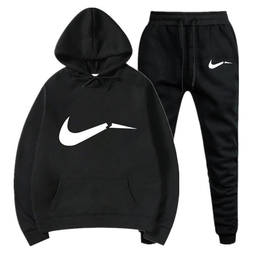 Winter Autumn Men Hoodie Sweatshirt Jacket+ Joggers Sweatpants Man Printing Suits Sportwear Tracksuit Fight Color Brand Clothing