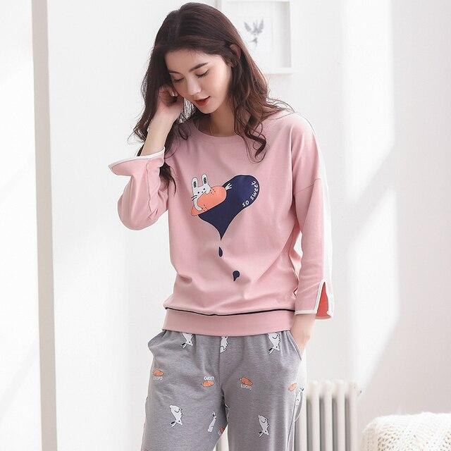 9a806dcd69 2018 Spring Autumn Cotton Women Pyjamas Leisure Loose Clothing Long Tops Set  Female Pyjamas Sets Night