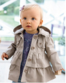2015 Autumn Children Coat Cotton Girls Outerwear Baby Girl Trench Coat Toddler Girls Hooded Jacket for 1-5 years
