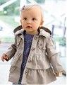 2015 Outono Crianças Casaco de Algodão Meninas Outerwear Bebê Menina Casaco de Trincheira Criança Meninas Jaqueta Com Capuz para 1-5 anos