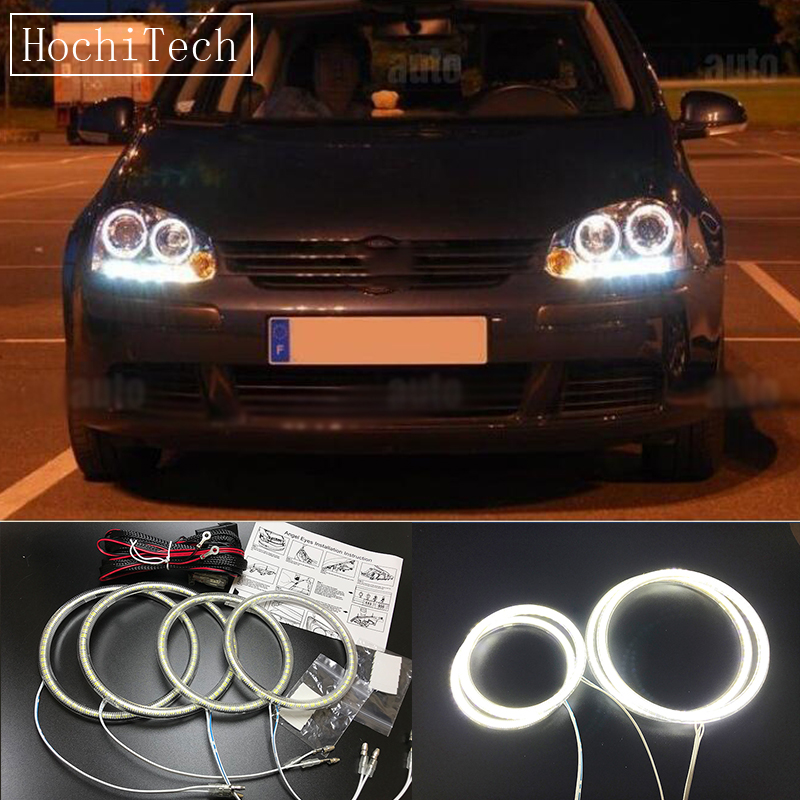 HochiTech Ultra bright SMD white <font><b>LED</b></font> angel eyes halo ring kit daytime running <font><b>light</b></font> DRL for Volkswagen <font><b>VW</b></font> <font><b>golf</b></font> 5 <font><b>MK5</b></font> 2003-2009 image