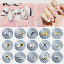 ELESSICAL 16 Designs 100pcs/bottle Copper Gold Silver Nail Rivets DIY Nail Charms 3D Nail Art Decorations Manicure MA0818-MA0833 3d nail art fimo soft polymer clay fruit slices cartoon for nail manicure sticker cell phones diy designs wheel decoration czp35