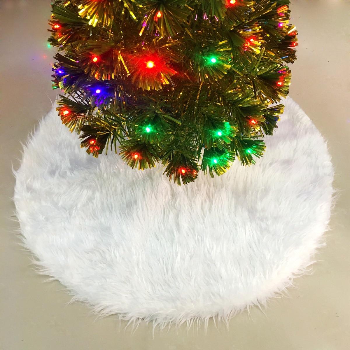 White Plush Christmas Tree Skirt Base 70cm Floor Mat Rug Cover Round ...