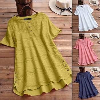 Women's Lace Blouse Fashion Embroidery Tops 2019 ZANZEA Button Short Sleeve Shirts Female Asymmetrical Blusa Plus Size Tunic 5XL 2