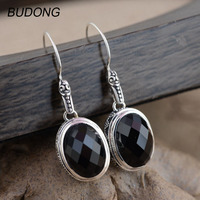 BUDONG Real 925 Sterling Silver Drop Dangle Earring for Women Vintage S925 Silver Natural Black Agate Engagement Fine Jewelry