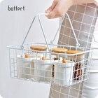 Portable White Iron Storage basket Metal Mesh Grid With Handle Fruits Storage Organizer Holder Home Decoration Sundries Basket