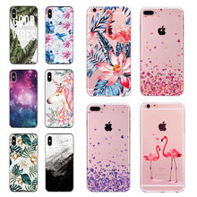 Soft Silicone Case for iphone 5s 5 SE 6 6s 6 7 8 Plus Flamingo Flower Pattern Phone Case For iphone 6 6s 7 Plus X 10 Cases(China)