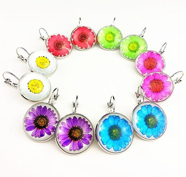 Купить серьги капельки с ромашками сушеными цветами цветками и хризантемами