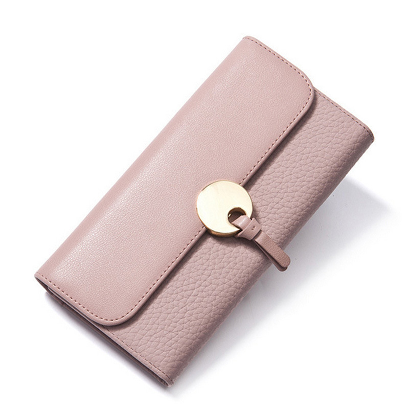 Trifold Women Genuine Real Leather Wallet Cowhide Long Fashion Phone Clutch Wallet Zipper Coin Purse Plastic Credit Card Holder