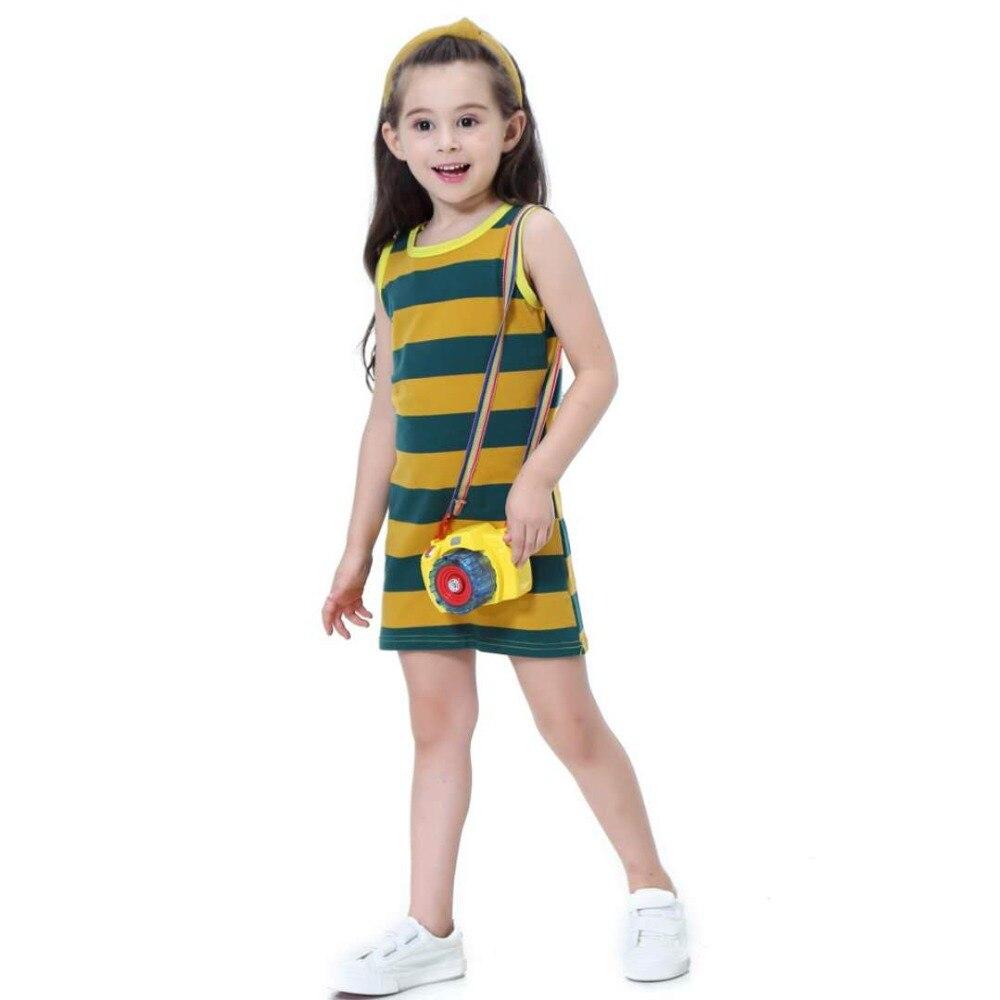 Hot Sale Cotton Children Girls Clothing Black White Stripes Summer Girl Dress Cotton 3-12 Years Kids Vest Dresses for Teenage