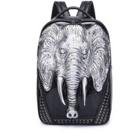 3 Color PU Leather Men Backpack Unique 3D Travel Backpack Punk Rivet Elephants Printing 15 6