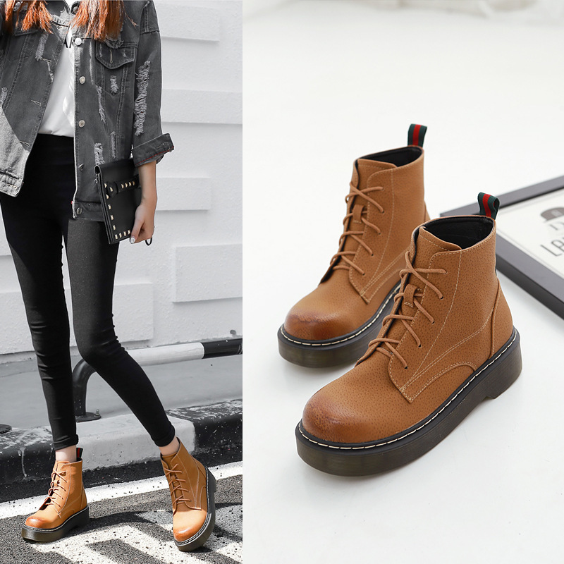 ФОТО 2016 Autumn And Winter New Pattern Restore Ancient Ways Ox Tendon Flange Martin Round Boots Head Short Boots Woman