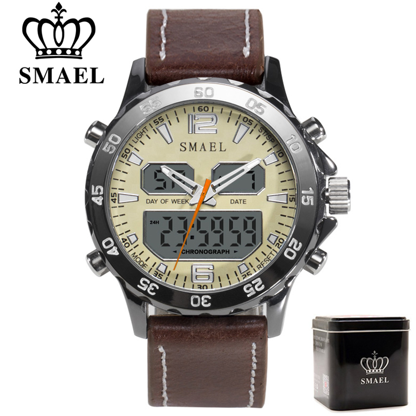 SMAEL Brand Fashion Men Sports Quartz Watches Men Analog Digital Leather Men's Army Military Watch Clock Man Relogio Masculino
