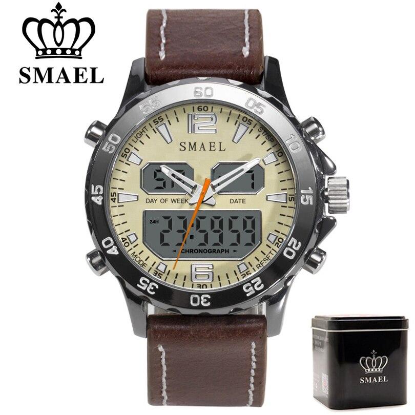 SMAEL Brand Fashion Men Sports Quartz Watches Men Analog Digital Leather Mens Army Military Watch Clock Man Relogio Masculino