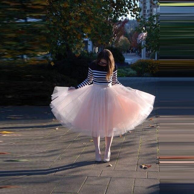 d1a7cb9980d8 Pretty Light Pink Tulle Skirt Custom Made Ribbon Zipper Waistline A Line  Knee Length Skirt Fashion Casual Tutu Skirts Women