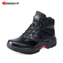 Modyf Men army outdoor footwear winter boots zipper side top split leather puncture proof safety hiking shoes