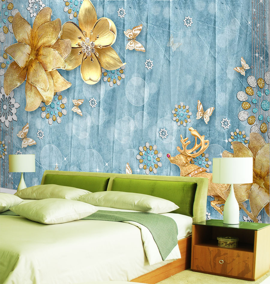 Photo Wallpaper For Walls Aliexpress  Buy Luxury Golden Flower Wallpaper Custom 3D