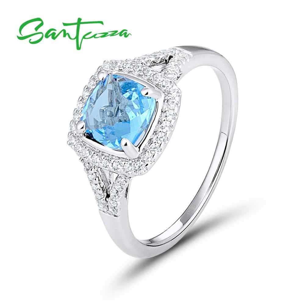 SANTUZZA Silver Rings for Women Engagement Wedding Ring Cushion Sky Blue Cubic Zirconia Pure 925 Sterling Silver Fashion Jewelry