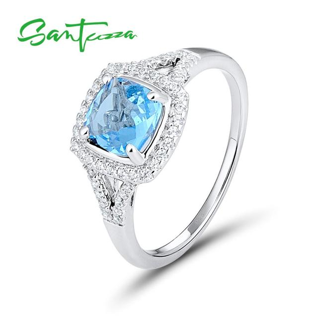 silver rings for women engagement wedding ring cushion sky blue white cubic zirconia pure 925 sterling - Women Wedding Ring