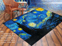 190cm Novelty Star Home Decor Carpets Livingroom Colorful Fur Rugs Kids Painting 3D Hd Print Floor