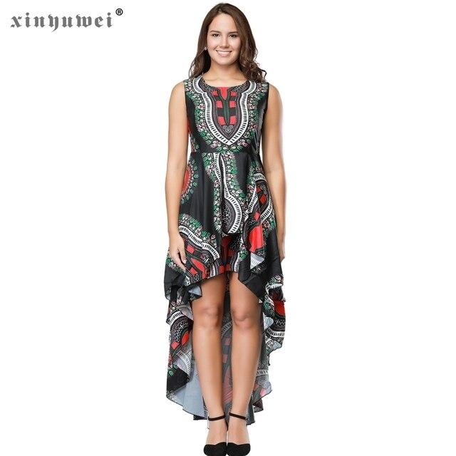 b095d95844a127 Xinyuwei Women Sleeveless High Low Hem Asymmetrical Long Dress Vintage  Print O Neck Loose Flare Fashion Casual Maxi Dress
