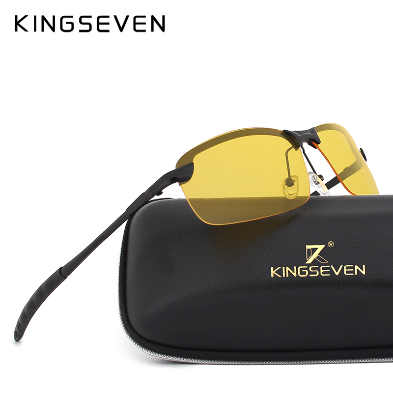 KINGSEVEN Night Vision Goggles Driving Polarized Sunglasses for men's car Driving Glasses Anti-glare Alloy Frame glasses night