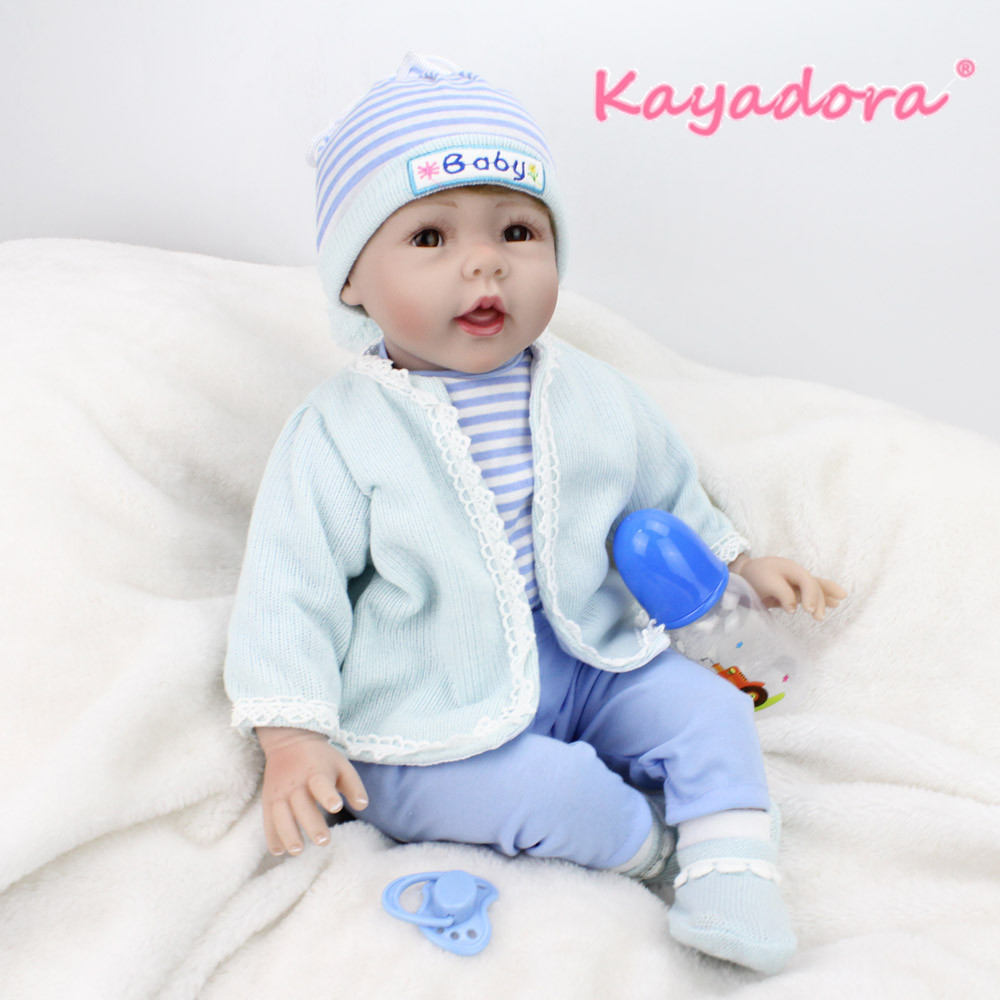Kaydora 22 Inches Silicone Reborn Baby Dolls Rooted Brown Mohair Blue Bebe Romper lol For Princess Children Birthday Gift BebesKaydora 22 Inches Silicone Reborn Baby Dolls Rooted Brown Mohair Blue Bebe Romper lol For Princess Children Birthday Gift Bebes