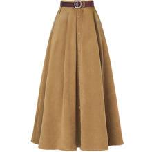 ebf1c4397dd Automne hiver velours côtelé jupes femmes Streetwear Vintage taille haute  Jupe longue Jupe Femme Slim décontracté simple boutonn.
