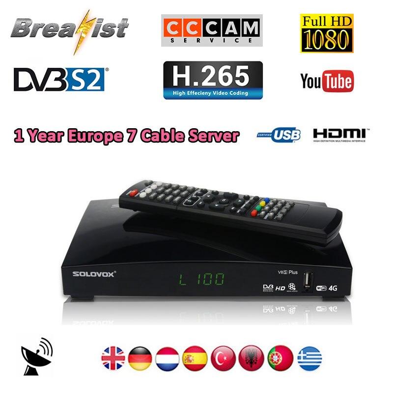 SOLOVOX V8S Plus DVB S2 Digital Satellite Receiver support USB wifi 4k H.265 HDMI 1080P Biss key M3U YOUPORN Cccam NEWCAMD