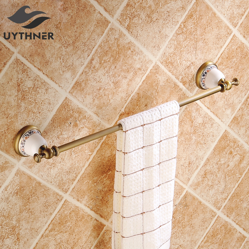 Antique Brass Bathroom Towel Bar Solid Brass Single Towel Bar Towel Rack Bathroom Accessories Wall Mounted okaros bathroom double towel bar 60cm towel rack towel holder solid brass golden chrome plating bathroom accessories