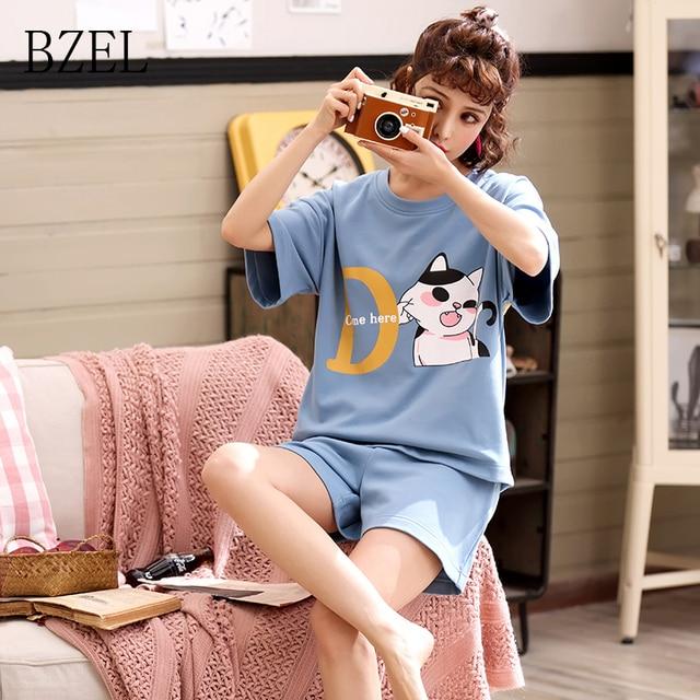 BZEL 2019 جديد وصول السيدات بلوزات وسراويل مجموعات النساء قصيرة الأكمام منامة القطن منامة في سن المراهقة قمصان النوم ملابس النوم مجموعة