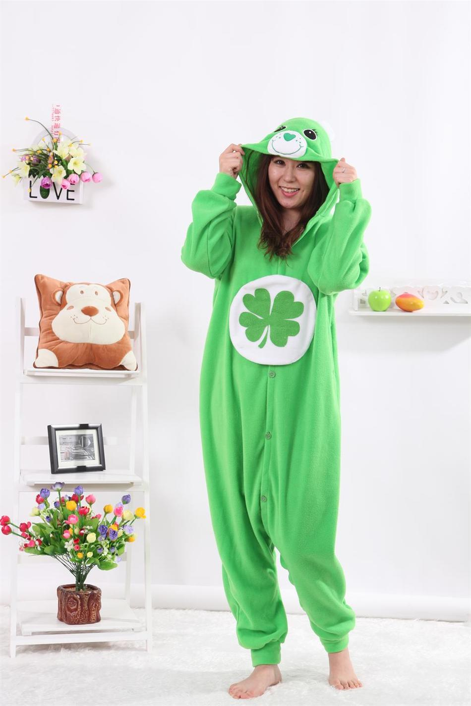 Adult Unisex Green Four-leaf Clover Lucky Care Bear Cosplay Pajamas Onesies Pyjama Animal Costumes Cosplay Cartoon Sleepwear
