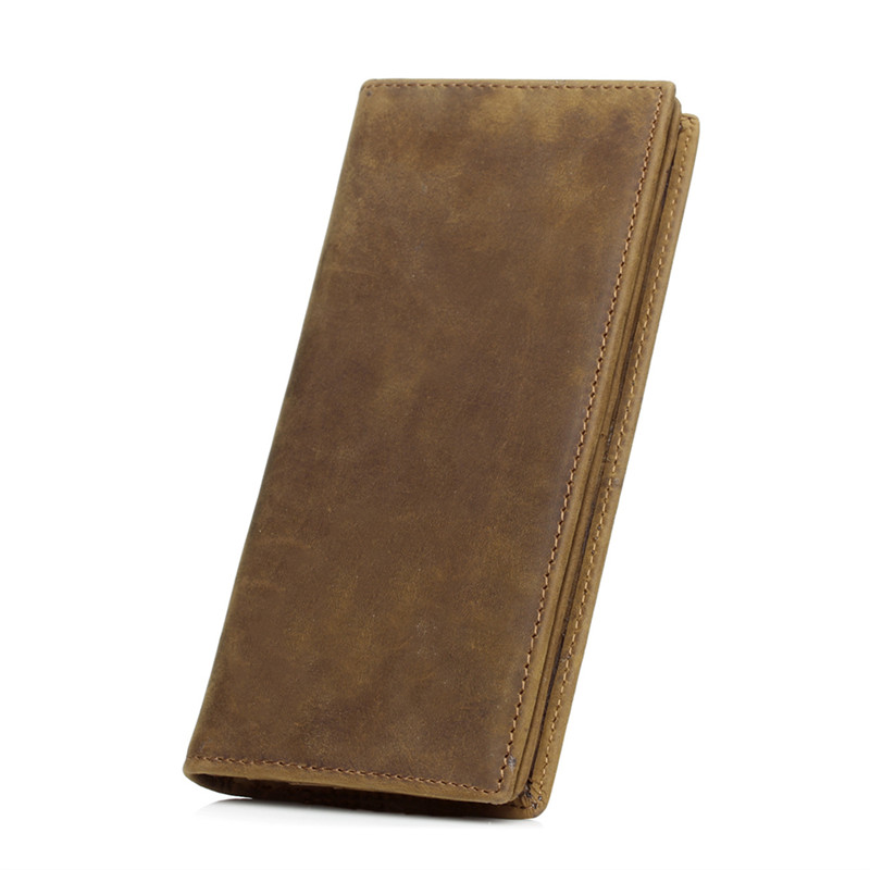 Crazy Horse Leather Men Wallet Slim Vintage Genuine Leather Long Purse Cowhide Bifold wallets with Coin Pocket and Card Holders crazy horse leather men wallet slim vintage genuine leather long purse cowhide bifold wallets with coin pocket and card holders
