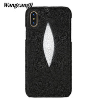 wangcangli Brand genuine snake skin phone case For Xiaomi Mi Max 3 phone back cover protective case leather phone case
