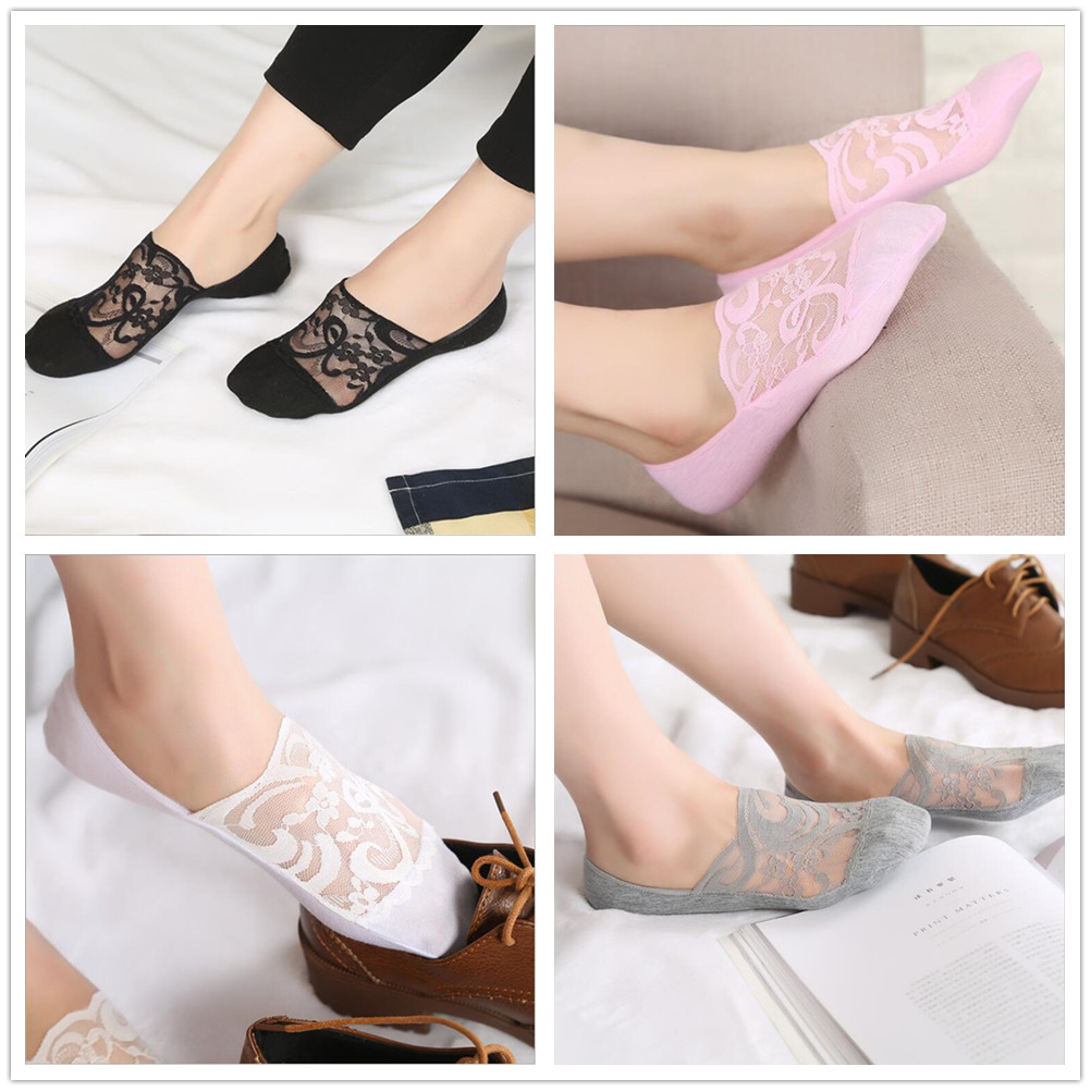 Spring and summer new sexy lace ladies invisible shallow mouth anti-skid boat   socks   female elastic breathable anti-skid   socks