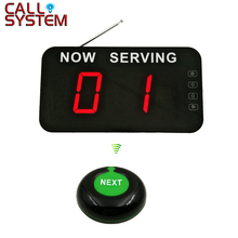 Take a number system 2-digit display with Next Control Button Wireless Queue Management System 2 3 alphanumeric display receiver host 433mhz with touch screen voice broadcast for restaurant ordering system queue management