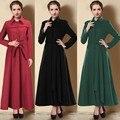 2015 abrigo Musulmán ropa Islámica para las mujeres abrigo de lana más tamaño outwear caliente con cinturón ropa gial Europeo Manteau