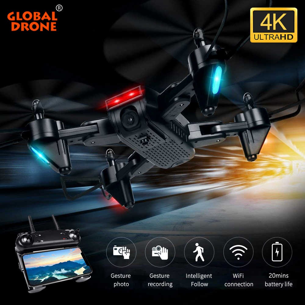 Global Drone 4K Drone FPV Quadrocopter Ikuti Aku RC Helikopter Optical Flow Drone dengan Kamera HD Drone Vs m69 M70