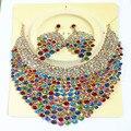 Nueva Boda África Sistemas de la joyería de Cristal Austriaco Completa Forma Redonda Conjuntos Collar Pendientes Para Las Mujeres Joyería Nupcial Sets XNG012