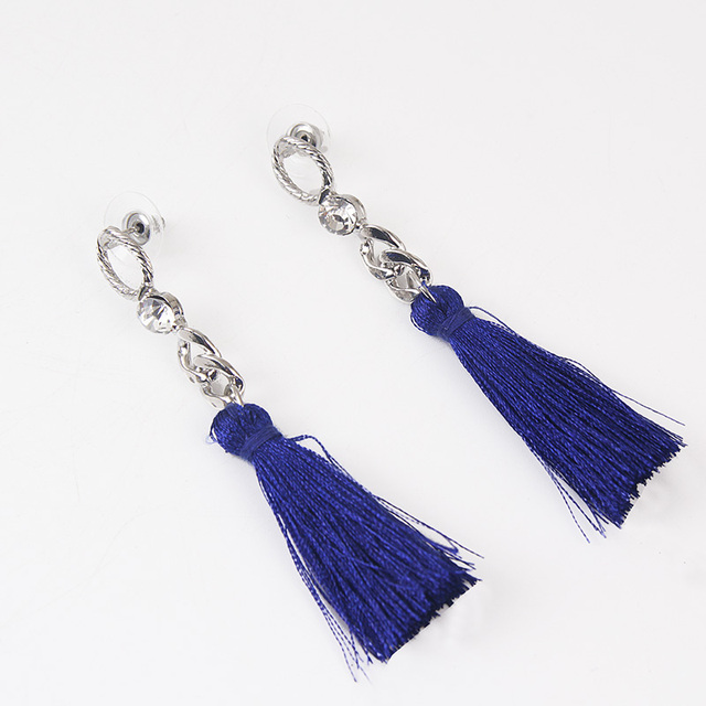 Vintage Long Tassel Drop Earrings for Women Rhinestone Silver Color Black  Navy Line Dangle Earring Ear Jewelry Brincos 6B5011 75a99e54f4f6