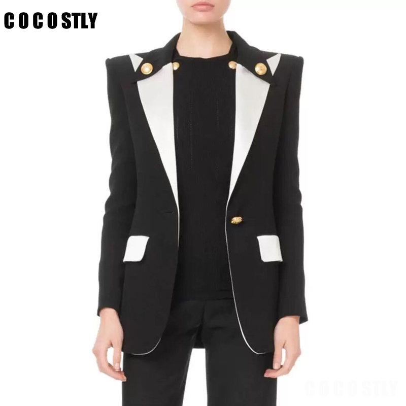 Black White Contrast Color Blazer Women Single Button Gold Notched Collar Buttoned Long SLeeved Flap Pockets Suit Women Clothes