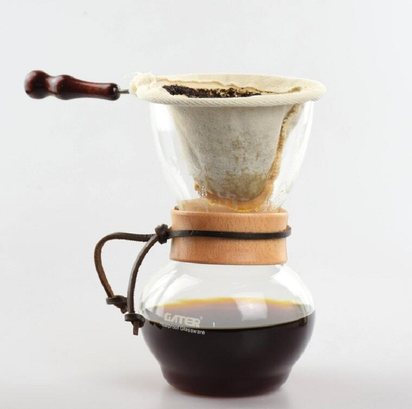 Free Shipping Coffee/Tea Drip Pot Heat Resist Glass Cloth Filter/Metal Filter