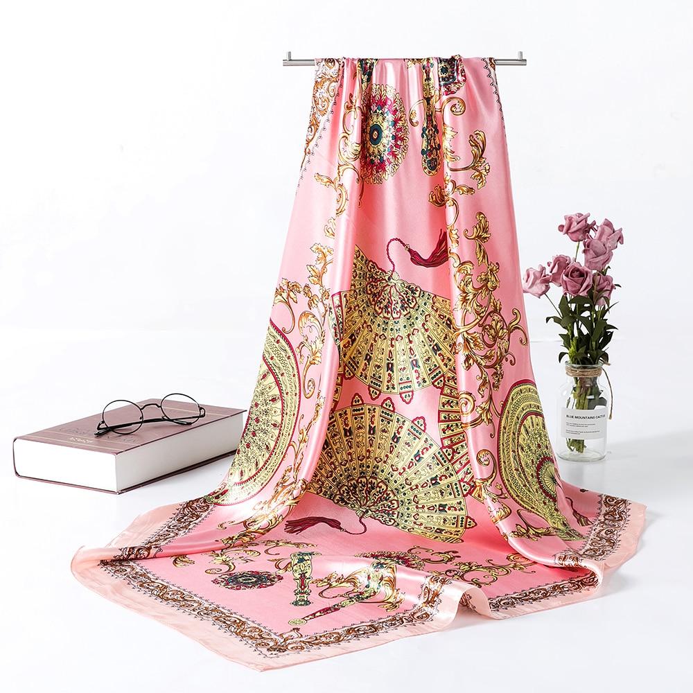 Designer Satin Silk Scarfs for Women Large Square Women's   Scarves     Wraps   90*90CM Women Retro Print Hijab Kerchief   Scarves   AA10138