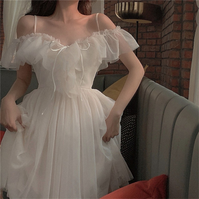 Summer New Korean Fashion Off Shoulder Strap Dress